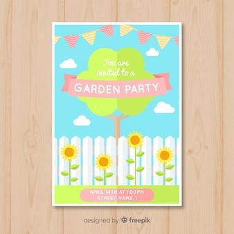 Affiche de fête de printemps arbre plat