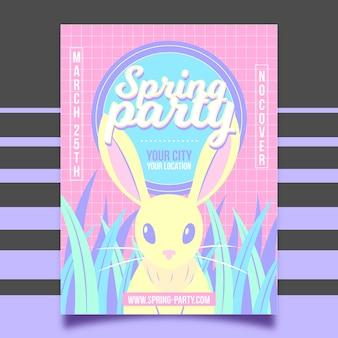 Affiche de fête de printemps vue de face rétro lapin blanc