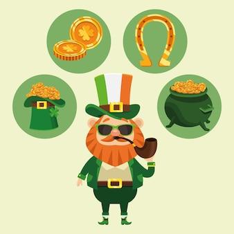 Affiche de la fête de la saint patrick heureux avec leprechaun et des icônes autour de l'illustration
