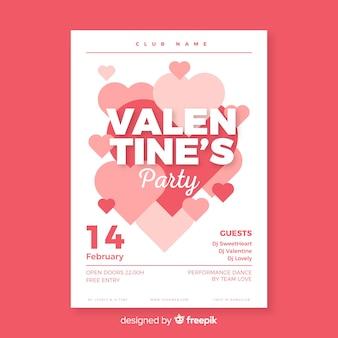 Affiche de la fête de la saint-valentin groupe de coeur
