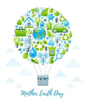 Affiche de la fête de la terre mère avec ballon à air. jeu d'icônes de protection de l'environnement.