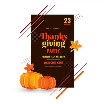 Affiche de fête de thanksgiving.