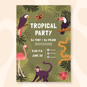 Affiche fête tropicale avec des animaux