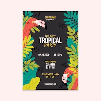 Affiche de fête tropicale avec concept d'animaux
