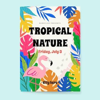 Affiche fête tropicale avec flamant rose
