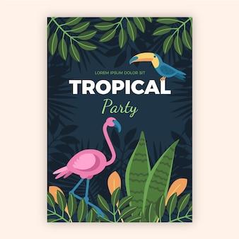 Affiche fête tropicale avec style animaux