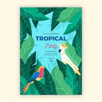 Affiche de fête tropicale avec thème animaux
