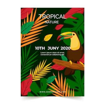 Affiche fête tropicale avec tucano