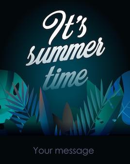 Affiche de fête de vacances avec feuille de palmier et lettrage de son heure d'été illustration heure d'été