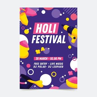 Affiche de fête de vacances holi avec des points
