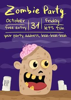 Affiche fête zombie halloween avec tête de monstre