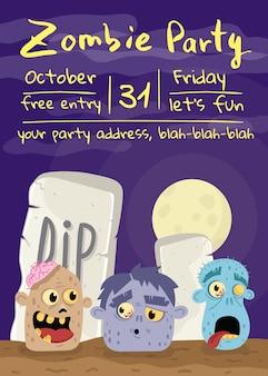 Affiche fête de zombie halloween avec des têtes de monstre