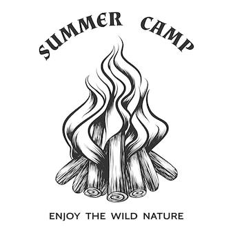 Affiche avec feu de camp dessiné à la main. flamme et brûlure, bois de chauffage et énergie, cheminée et feu de joie, illustration vectorielle