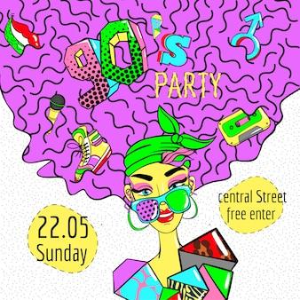 Affiche de fille de style bande dessinée colorée des années 90