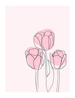 Affiche fleurs une ligne style organique