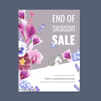 Affiche de floraison hivernale avec orchidée, bouton floral