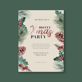 Affiche florale florale d'hiver, carte postale élégante pour la décoration vintage belle