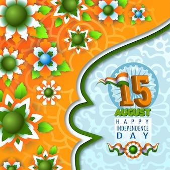 Affiche florale de l'indépendance de l'inde