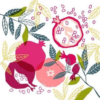 Affiche florale de vecteur peinte à la main avec la grenade