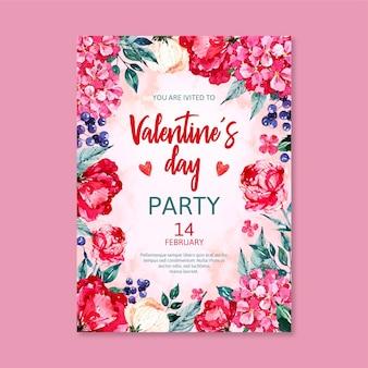 Affiche de flyer de fête aquarelle saint valentin
