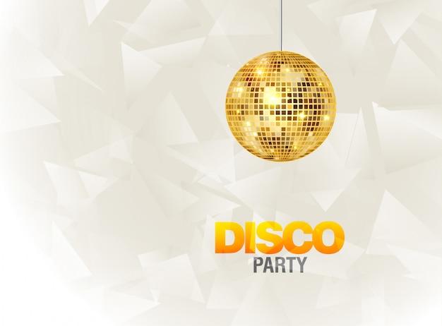 Affiche de flyer de fond de soirée disco. conception de modèle de fête. musique de boule disco légère