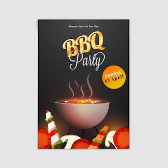 Affiche, flyer, modèle ou conception d'invitation de barbecue.
