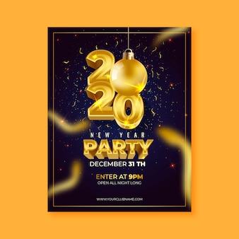 Affiche / flyer réaliste du nouvel an 2020