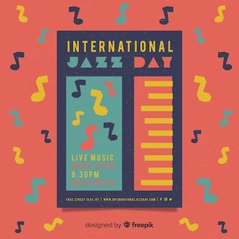 Affiche / flyer vintage vintage de la journée internationale du jazz
