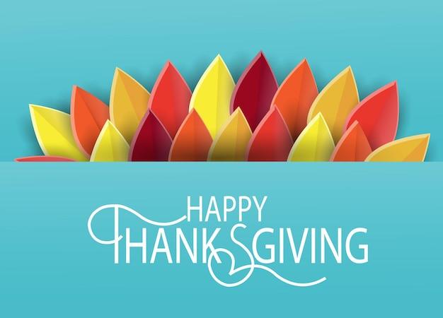 Affiche de fond d'automne. fond de papier découpé pour carte postale, icône de thanksgiving, logo ou badge. conception de style vintage de vecteur de thanksgiving.
