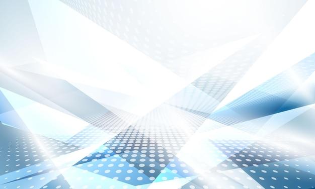 Affiche de fond bleu blanc abstrait avec dynamique. réseau technologique illustration vectorielle.