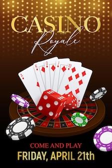 Affiche de fond festif réaliste d'invitation d'événement d'événement de club de poker de casino avec des cartes