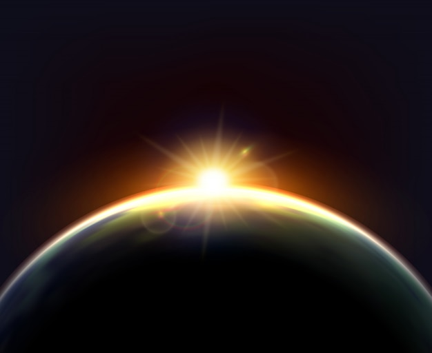 Affiche de fond foncé de terre de lumière du soleil de globe