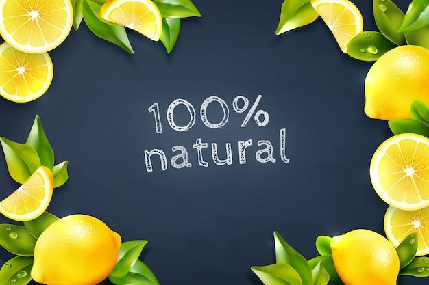 Affiche de fond de tableau noir de cadre d'agrumes citron