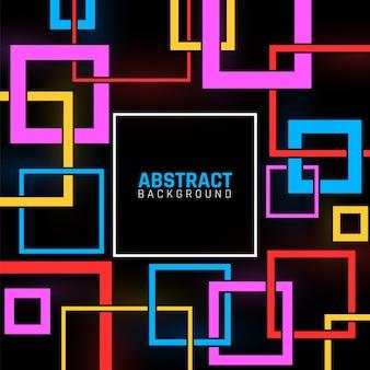 Affiche de formes géométriques. modèle d'entreprise moderne abstrait, carrés colorés sur fond noir. fond de vecteur contemporain. design contemporain carré d'illustration, texture de motif géométrique