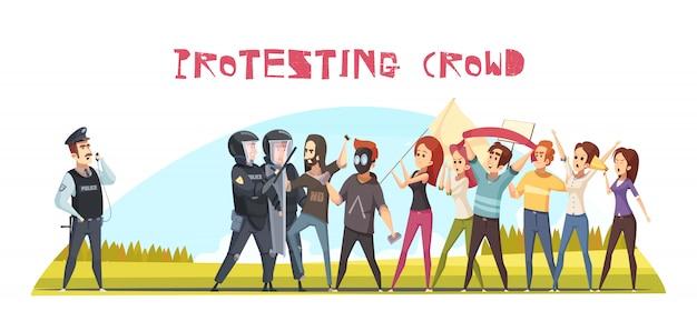 Affiche de foule qui protestait