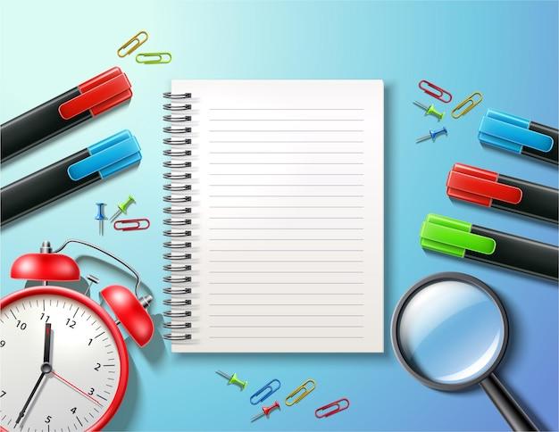 Affiche de fournitures scolaires avec cahier vierge réveil broche en forme de loupe et trombones