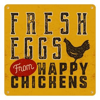 Affiche fraîche de la ferme avec du poulet. style de typographie rétro