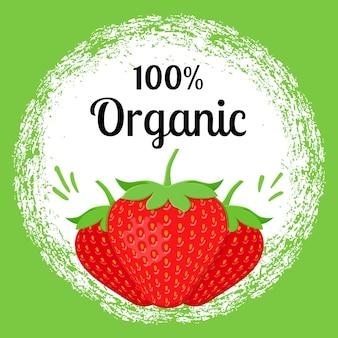 Affiche fraise 100% bio. modèle de bannière écologique au design plat.