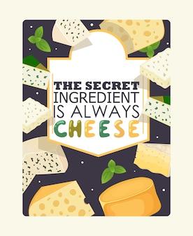 Affiche de fromage, ingrédient secret du texte de typographie est toujours le fromage.
