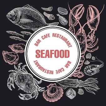 L'affiche avec les fruits de mer pour les restaurants et le menu des cafés