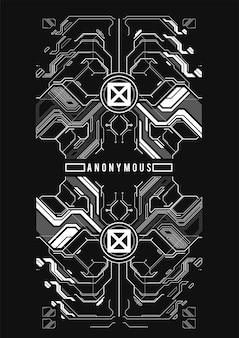 Affiche futuriste cyberpunk. modèle d'affiche abstrait tech avec des éléments hud. flyer moderne pour le web et l'impression. piratage, cyberculture, programmation et environnements virtuels.