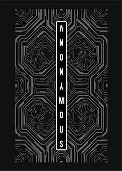 Affiche futuriste cyberpunk. modèle d'affiche abstrait tech avec des éléments hud.