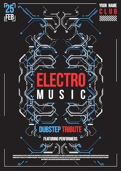 Affiche futuriste de cyberpunk. modèle d'affiche futuriste rétro. disposition de musique électronique. dépliant de fête de club moderne.