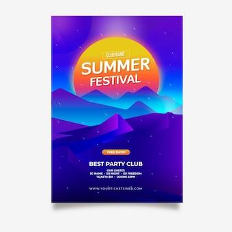 Affiche futuriste du festival d'été