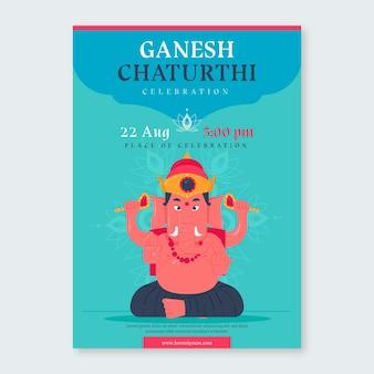 Affiche de ganesh chaturthi dessinée à la main