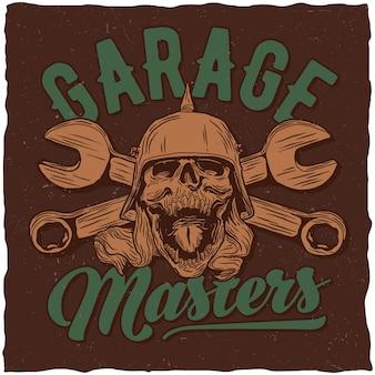 Affiche de garage avec crâne et clés