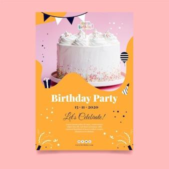 Affiche de gâteau délicieux joyeux anniversaire