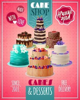 Affiche de gâteaux au four