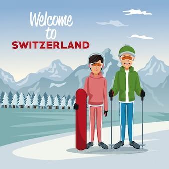 Affiche avec des gens de skieurs touristiques et du texte bienvenue en suisse
