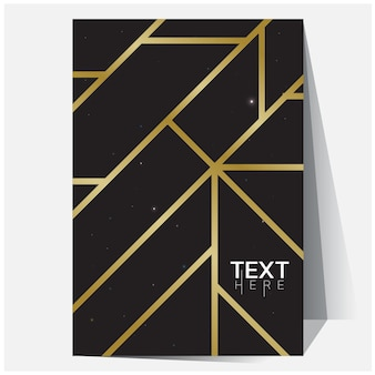 Affiche géométrique nuances d'or avec filet dégradé